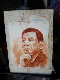 An artist in Tacloban City paid tribute to President Rodrigo Duterte by painting his portrait using 'tuba' or coconut wine. Coconut Wine, Doodle Coloring, Good Day Song, Cool Art Drawings, Inspiration For Kids, Portrait, Graphic Illustration, Art Projects, Rodrigo Duterte