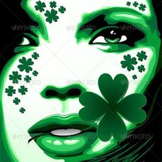 St #Patrick #Girl with Shamrock on #Lips - #Vector #Art #Design on #Graphicriver