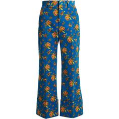 Gucci Floral-print wide-leg corduroy cropped trousers ($1,350) ❤ liked on Polyvore featuring pants, capris, gucci, floral pants, wide leg cropped pants, cropped trousers, blue corduroy pants and cropped capri pants