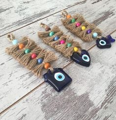 3 Piece Colorful Evil Eye Wall Hangings with Jute Rope, Handmade Glass Blue Evil Eye Wall Decor, Home&Heart&Fish Shaped Turkish Good Luck Charm Wall Hanging Christmas Tree, Christmas Tree Decorations, Macrame Wall Hanging Patterns, Rope Jewelry, Free Art Prints, Fish Shapes, Evil Eye, Bead Art, Cool Gifts