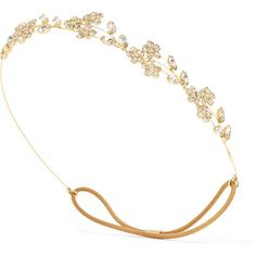 Jennifer Behr Violet Bandeaux gold-tone crystal headband ($530) ❤ liked on Polyvore featuring accessories, hair accessories, headband, hair bands accessories, head wrap hair accessories, jennifer behr headband, floral hair accessories and embellished headbands