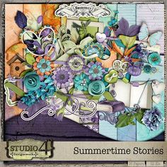 "Studio4 Designworks has a brand new kit out called, ""Summertime Stories."" This kit's bold  orange, purple and teal color palette is perfect for scrapping photos of vacations, family, friends, and special events. Once you see it, you will want this kit for your scrapbooking kit collection! Available now at Go Digital Scrapbooking and coming soon to Digital Scrapbooking Studio!"