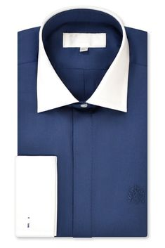 William Hunt Savile Row Oxford Blue Cutaway Collar Shirt with Double Stand Collar Fastening Button), Tapered Body and William Hunt Crest Logo to Front Left. Crest Logo, Cutaway Collar, Oxford Blue, Savile Row, Collar Shirts, Contrast, Collared Shirts