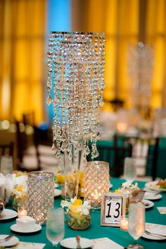 Chandelier Centerpiece--these guys can be given some glow with LED too Chandelier Centerpiece, Centerpieces, Wedding Events, Weddings, This Is Love, Glow, Angel, Ceiling Lights, Music