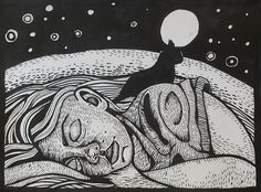 sleeping girl with cat by Rebecca Prints, via Flickr