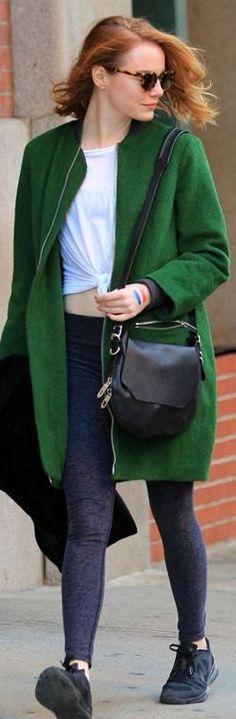 Emma Stone: coat – Elizabeth and James  Purse – Rag & Bone  Shoes – Nike