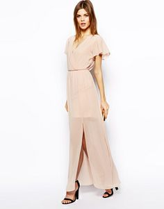 Asos maxi dress with ruffle sleeve - see more at http://themerrybride.org/2014/06/15/possible-bridesmaid-dresses-from-asos-com/