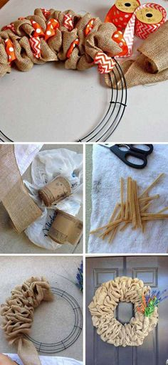 Tutorial Burlap Wreath | 35 Beautiful DIY Decorating Ideas You Could Do With Burlap
