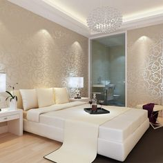 The Pain of Classic Style Velvet Wallpaper Gold Rose Flower Living Room Sofa Bedroom TV - bdarop Tv In Bedroom, Bedroom Sofa, Master Room, Trendy Bedroom, Living Room Sofa, Apartment Living, Velvet Wallpaper, House Design, Decoration