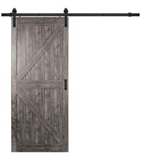 TRUporte 36 in. x 84 in. Iron Age Grey K Design Solid Core Interior Composite Barn Door with Rustic Hardware Kit