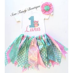 Owl Birthday fabric tutu set
