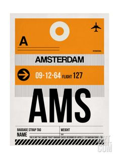 Naxart 'AMS Amsterdam Luggage Tag Graphic Art on Wrapped Canvas Size: Canvas Wall Art, Wall Art Prints, Framed Prints, Canvas Prints, Canvas Canvas, Canvas Paintings, Art Mural, Amsterdam, Poster