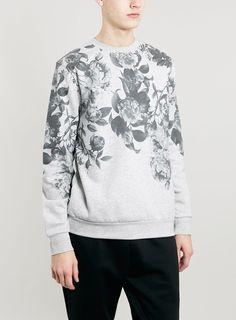 GREY FLORAL YOKE SWEATSHIRT - Men's Hoodies & Sweatshirts - Clothing - TOPMAN