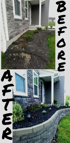 front yard flower bed project makeover to add curb appeal with lava rock and a stone block retaining wall. #flowerbed #landscaping #curbappeal Flower bed makeover in full progress #raisedbed #infrontofhouse #garden #diy