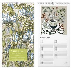 Angie Lewin's 2021 calendar, published by St Jude's, features 12 of Angie's limited edition prints, inspired by the British countryside. Angie Lewin, Flame Tree, British Countryside, 2019 Calendar, Wood Engraving, Linocut Prints, Surface Pattern Design, Friend Wedding, Limited Edition Prints