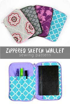 Free sewing tutorial: Zippered sketch wallet -- holds a small sketch book on one side and pens/pencils on the other