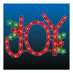 LED Lighted JOY Sign WindowDoor Hanging IndoorOutdoor Christmas Decor NEW Holiday Xmas Gift -- Be sure to check out this awesome product.