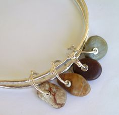 Sterling Silver Double Bangle Bracelet - Cambria Beach Stones - Silversmith - RMD Designs via Etsy