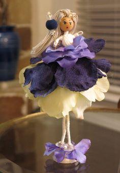 Bendy Doll Sasha Flower Fairy Purple and Green by MossmanPaints