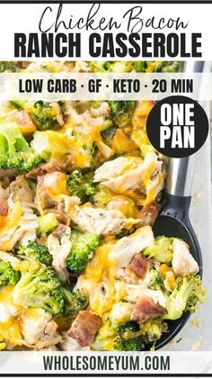 Bacon Ranch Casserole Recipe (Quick & Easy) - 2 Ways - A low carb, cheesy chicken bacon ranch casserole recipe that the whole family will love. Quick and easy with just 7 common ingredients, 5 minutes prep, and options for 2 ways to make it. Low Carb Chicken Casserole, Chicken Bacon Ranch Casserole, Low Carb Chicken Recipes, Easy Casserole Recipes, Low Carb Dinner Recipes, Cheesy Chicken, Real Food Recipes, Diet Recipes, Diet Meals