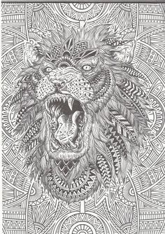 lion zentangle ~ adult colouring