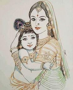 Jasoda and krishna Yashoda Krishna, Bal Krishna, Cute Krishna, Krishna Art, Radha Krishna Sketch, Shree Krishna, Radhe Krishna, Hanuman, Durga
