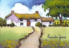 ACEO, Original Watercolour, Thatched Cottage, Wales,  Miniature Painting, Gift…