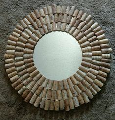 This handmade mirror is perfect for the wine lover and will compliment your home, restaurant or bar. Each cork is hand cut and glued artistically so you can read the name of each vineyard. The mirror is diameter including the corks. The visible mirror is Wine Craft, Wine Cork Crafts, Wine Bottle Crafts, Wine Cork Projects, Craft Projects, Wine Cork Art, Wine Corks, Cork Frame, Diy Osterschmuck