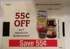 Natural Fruit Spread Product ~ 12/31/2014 ~ $0.55 on ONE (1) ~ (10)