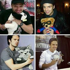 Sebastian with stuffed animals is the cutest thing
