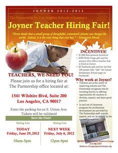 Looking for teachers @ Joyner Elementary!