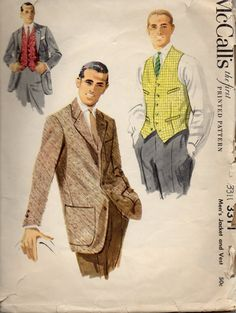 McCalls 3311 1950s  Mens  Jacket and Waistcoat Vest  Pattern mans vintage sewing patternby mbchills