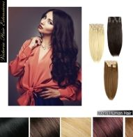 22inch (55cm) long DOUBLE WEFTED 200g. Full Head Clip In Human Hair Extensions