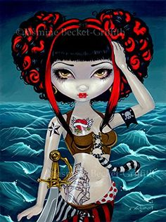 """""""Pretty Pirate Polly"""" SIGNED Glossy Photo Art Prints by Jasmine Becket-Griffith. Pretty Pirate Polly - the second installment in my Pirate Girls series (following my previous Captain Molly Morgan). Here we have Pretty Pirate Polly - and pretty she is! Elaborate tattoos, magnificent pirate regalia, captivating eyes and a fantastic hairdo round out her ensemble. She can kick ass though, check out that sword! The """"name"""" heart tattoo she has left blank - I guess her only true love is the sea."""