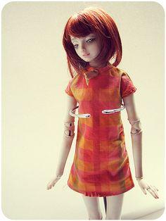 Shift dress | Orange and pink tones, labeled 'Sindy'. | Amal | Flickr