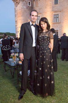 Caroline Sieber in Valentino, w/ husband Fritz von Westenholz at Sabine Khane and Joseph Getty wedding in Rome