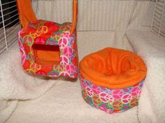 Small Mice bed set.  (I made this with someone in mind) 2 Piece Set it comes with a Small Hanging Cube w/front entrance and a cuddle cup.  Just $8.00 plus actual shipping