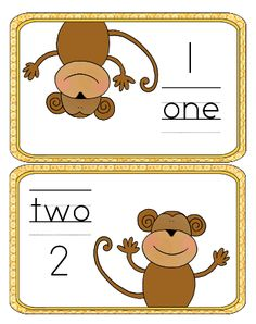 Monkey Number Mats 1 to 10 with Banana Counters