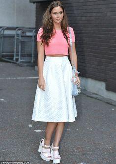 Jacqueline Jossa.. Topshop - rib crop tee and diamond jacquard midi skirt, with River Island cleated sole platform sandals..