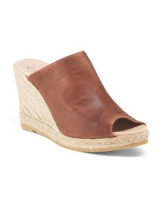 9ffc503057 Made In Spain Leather Mule Wedge Espadrille - Shoes - T.J.Maxx Espadrille  Sandals, Espadrilles