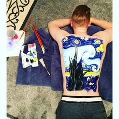 Back painting of the starry night by Van Gogh. Body art first attempt.