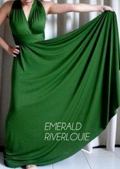 EMERALD GREEN Long Maxi Length Convertible Multiway Bridesmaids Wedding Maternity Prom Dress via Etsy