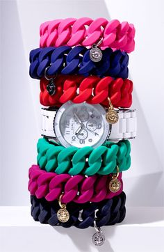 Marc by Marc Jacobs Rubber Turnlock Stretch Bracelets and Rock Chrono watch