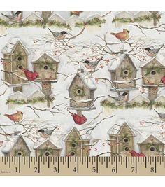 Holiday Inspirations™ Christmas Fabric-Susan Winget Winter Bird Houses