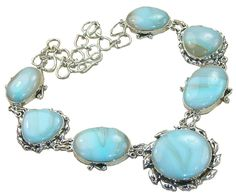 Stunning Necklace,925 Sterling Silver Jewelry with Larimar, Blue Topaz Gemstones, 925 Sterling Silver Jewelry Setting with Natural Gemstone $312.