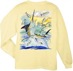 Guy Harvey Shirts - Guy Harvey Island Marlin Back-Print Long Sleeve Tee in Yellow, $22.95, CHRISTMAS WANT!!