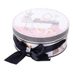 Boite de rangement ronde avec nœud en tissu - Esprit boudoir - 13,3 x 6 cm - Rose Noir