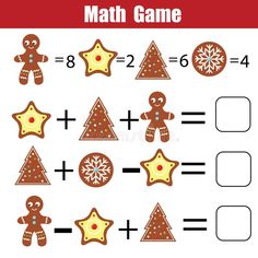 Download Math Educational Game For Children. Mathematical Counting Equations. Christmas, Winter Holidays Theme Stock Vector - Image: 104829742