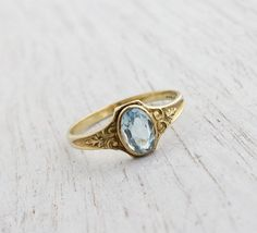 Antique Art Deco 10k Yellow Gold Aquamarine Ring by MaejeanVINTAGE, $195.00