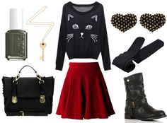 how to wear a red skater skirt for day with cat sweater black tights black combat boots heart studded earrings black satchel key necklace and green nail polish Skater Skirt Outfit, Red Skater Skirt, Skirt Outfits, Cute Outfits, Skater Skirts, Diy Outfits, Black Combat Boots, Black Tights, Cute Fashion